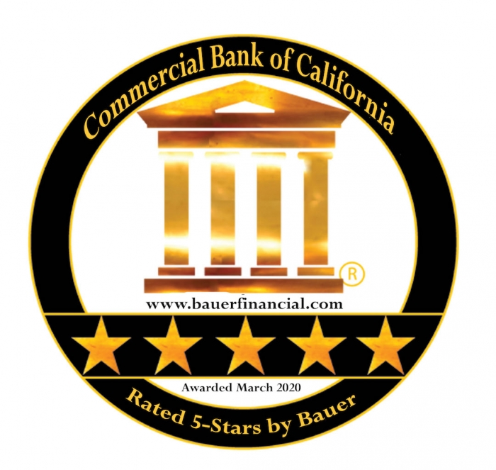 commercial bank of california rated five stars by bauer, emblem